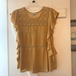 Flowy Mustard Top with Lace Accents